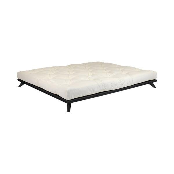 Łóżko dwuosobowe z drewna sosnowego z materacem Karup Design Senza Double Latex Black/Natural, 140x200 cm