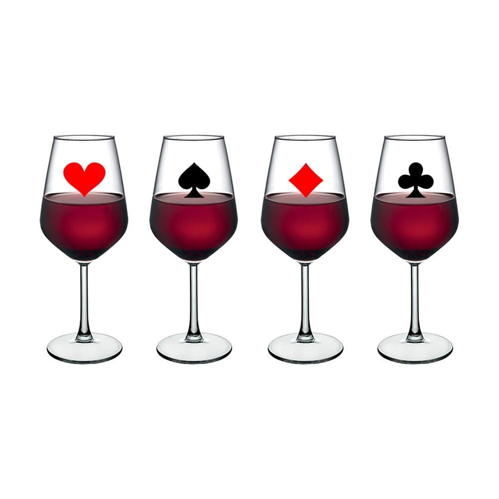 Sada 4 sklenic na víno Vivas Playing Card, 345 cm