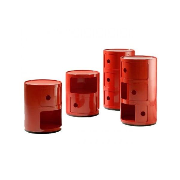 Červený kontejner se 3 zásuvkami Kartell Componibili