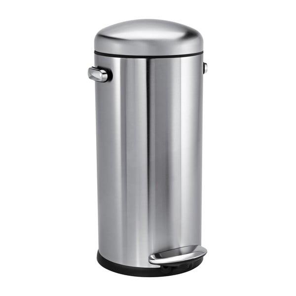 Stříbrný matný pedálový koš simplehuman Retro, 30 l