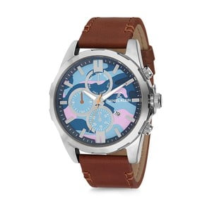 Pánské hodinky s hnědým koženým řemínkem Daniel Klein Army