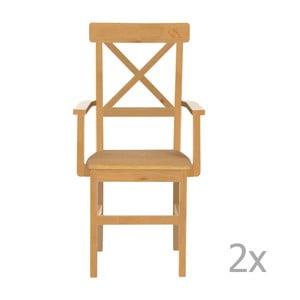 Sada 2 jídelních židlí z borovicového dřeva s područkami  Støraa Nicoline