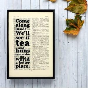 Plakát v dřevěném rámu Tea and Buns