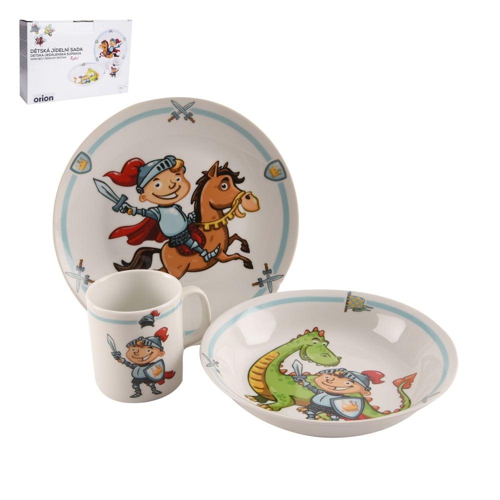 Sada 3 dětského jídelního nádobí z porcelánu s motivem rytíře Orion