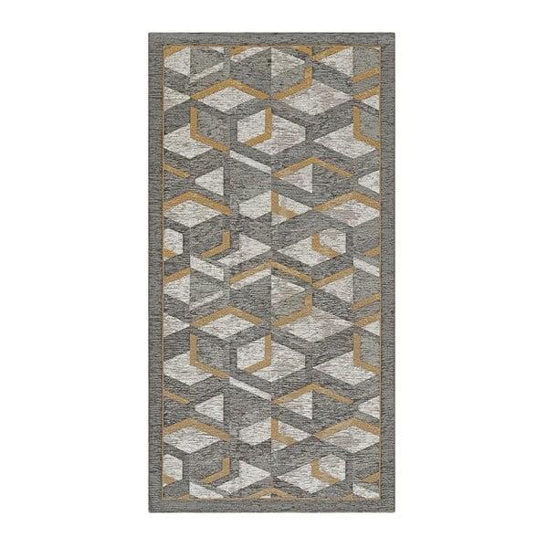 Šedo-zlatý běhoun Floorita Hypnotik, 55 x 280 cm