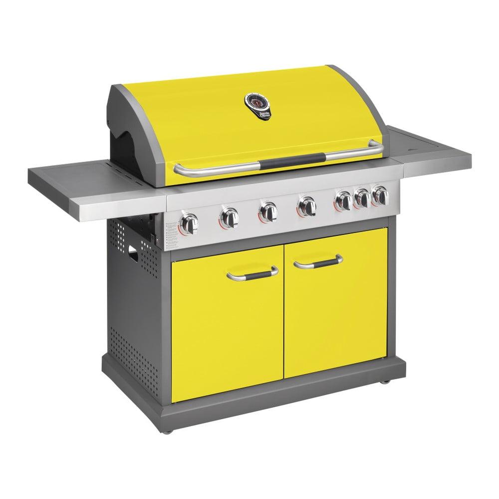 Žlutý plynový gril s 6 samostatně ovladatelnými hořáky, teploměrem a bočním ohřívačem Jamie Oliver Pro