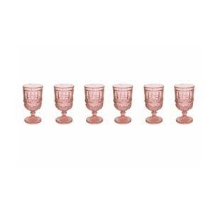 Sada 6 růžových sklenic na víno Villa d'Este Chic, 275ml