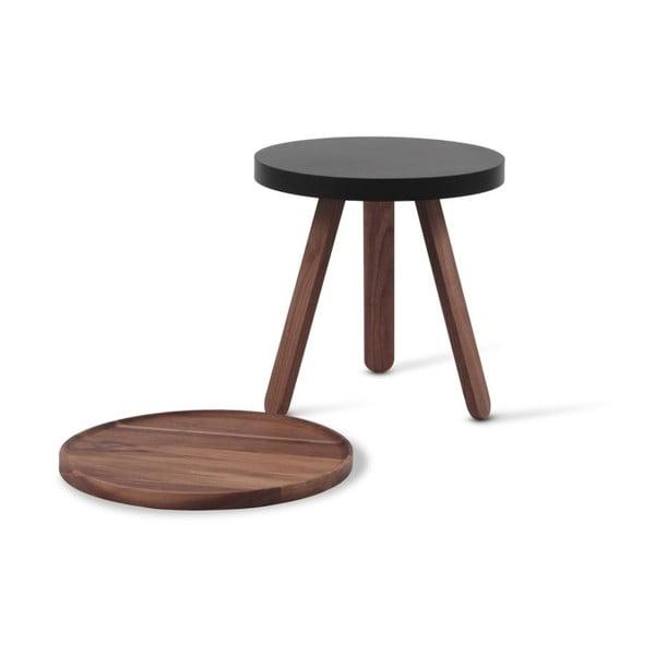 Hnědý odkládací stolek z dubového dřeva s černými detaily a podnosem Woodendot Batea S