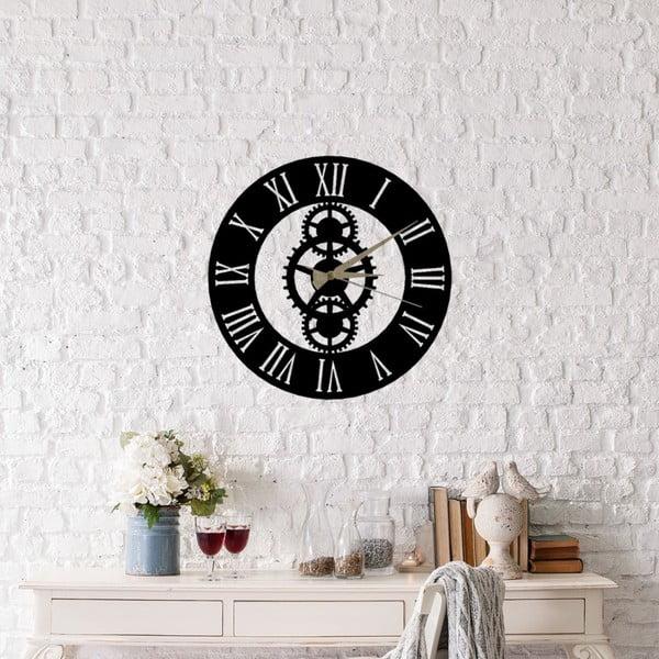 Čierne nástenné hodiny Platon Clock, ⌀48 cm