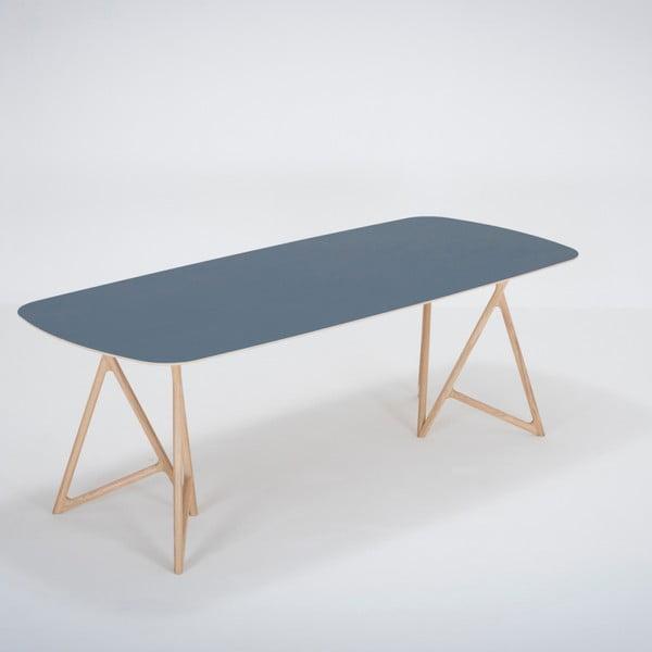 Jídelní stůl z masivního dubového dřeva s tmavě modrou deskou Gazzda Koza, 220x90cm