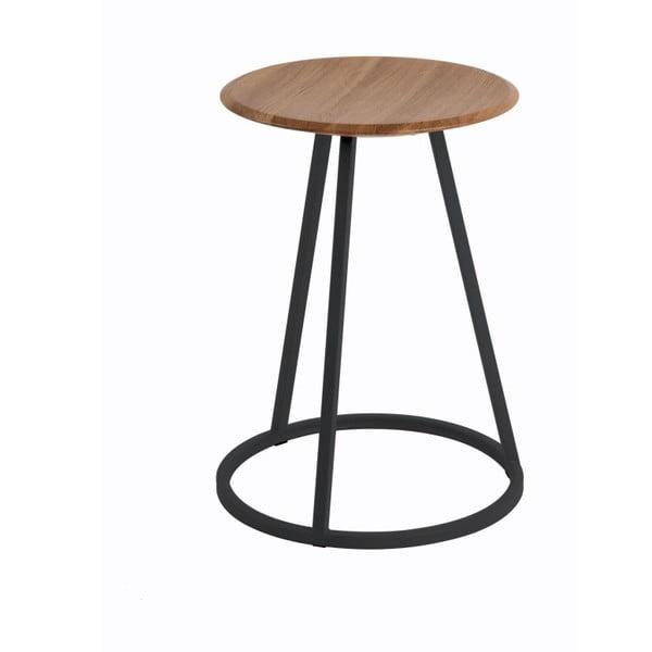 Stolička s deskou z ořechového dřeva a petrolejově modrou kovovou konstrukcí HARTÔ Gustave, výška 45cm