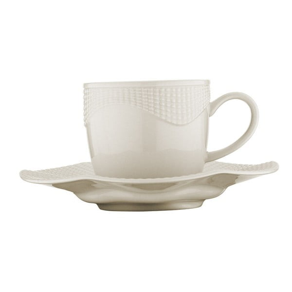 Sada 6 šálok s tanierikom z bieleho porcelánu Kutahya Anna, 50 ml