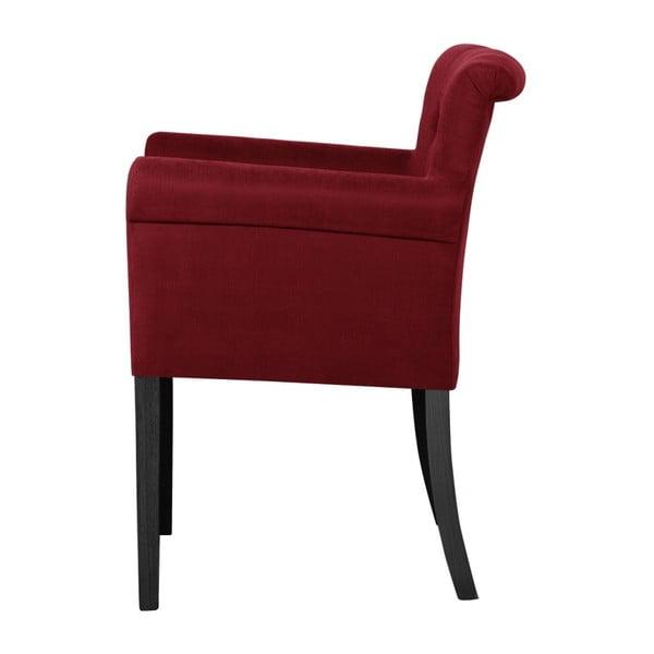 Červená židle s černými nohami z bukového dřeva Ted Lapidus Maison Flacon