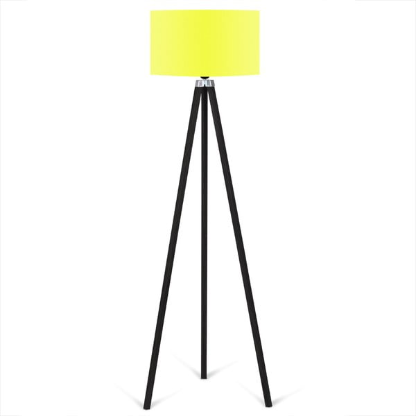 Czarny lampa wolnostojąca z jaskrawożółtym kloszem lampa Kate Louise Siyah