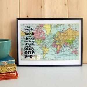 Plakát v dřevěném rámu World Is A Book Map Print