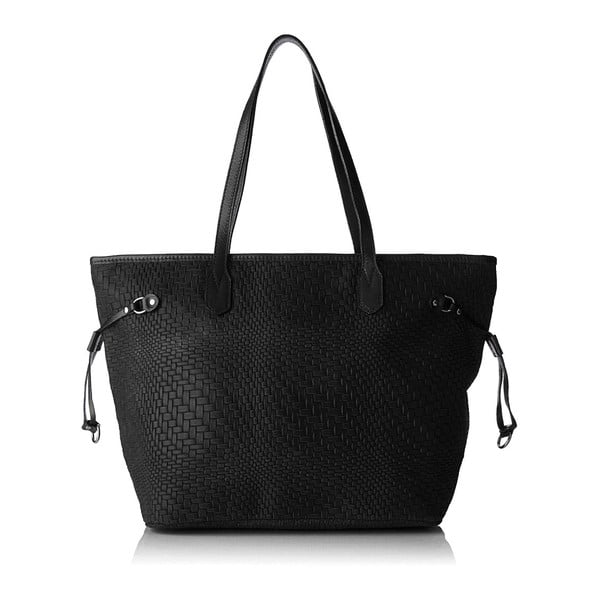 Černá kožená kabelka Chicca Borse Girro