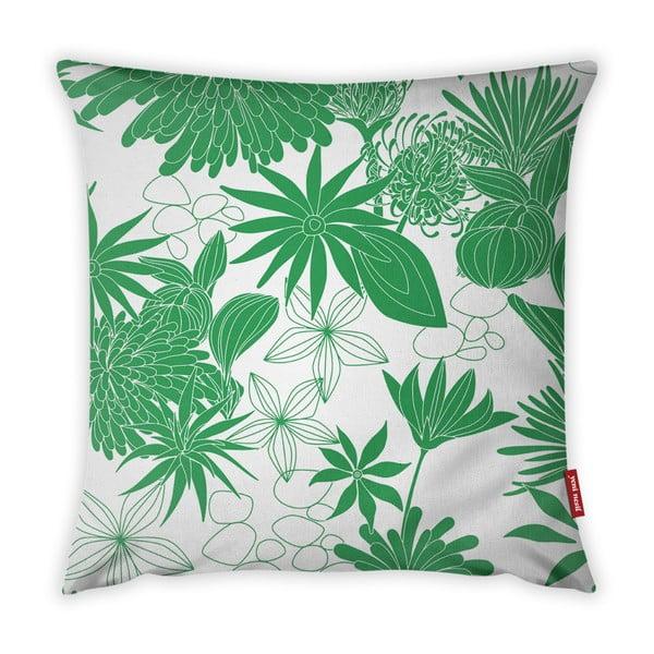 Zielono-biała poszewka na poduszkę Vitaus Jungle Verde, 43x43 cm