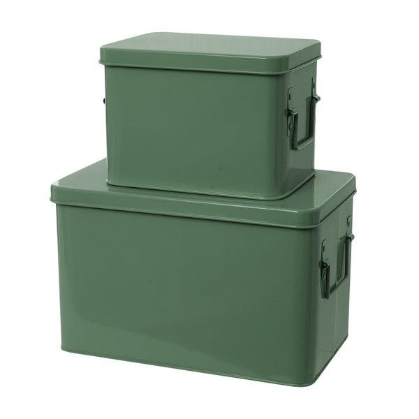 Set 2 skladovacích boxů Present Time Metal Green