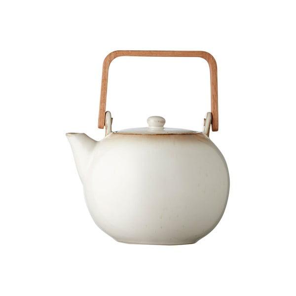 Krémovobiela kameninová kanvička na čaj Bitz Basics, 1,2 l