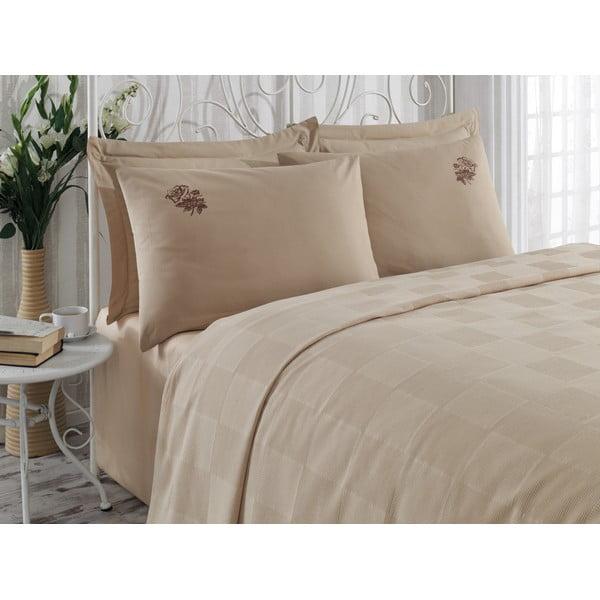 Sada přehozu přes postel, prostěradla a 2 povlaků Gul Brown, 200x235 cm