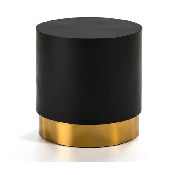 Černý odkládací stolek s detailem ve zlaté barvě Thai Natura, ⌀46cm