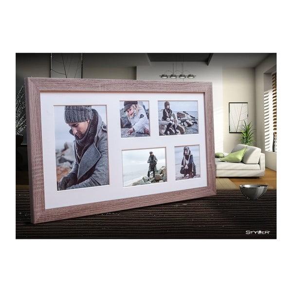 Hnedý rámček na 5 fotografií Styler Narvik, 27×51 cm