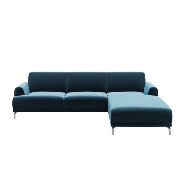 Modrá rohová pohovka MESONICA Puzzo, pravý roh