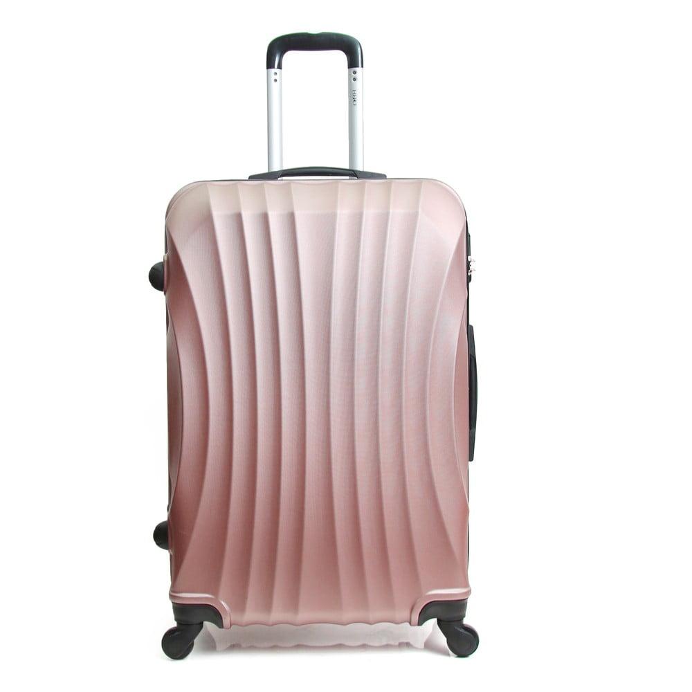 Pudrově růžový cestovní kufr na kolečkách Hero Moscou-e, 30 l