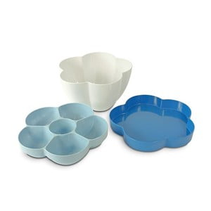 3dílná mísa na salát Flor, modrá