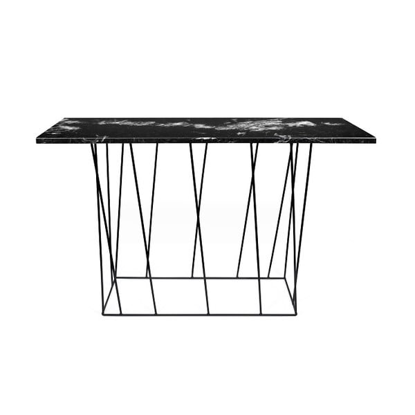 Černý mramorový konzolový stolek s černými nohami TemaHome Helix
