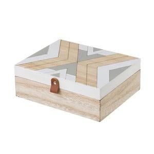 Béžovo-šedý úložný box Unimasa, 22 x 8 cm