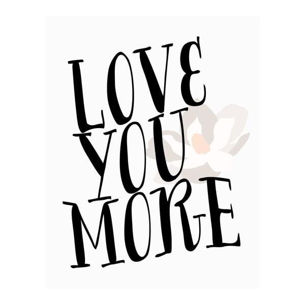 Plakát v dřevěném rámu LOVE YOU, 38x28 cm