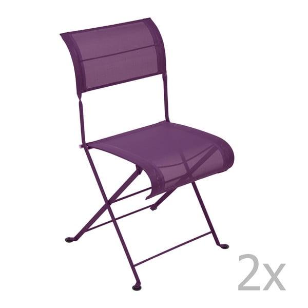 Sada 2 fialových skládacích židlí Fermob Dune
