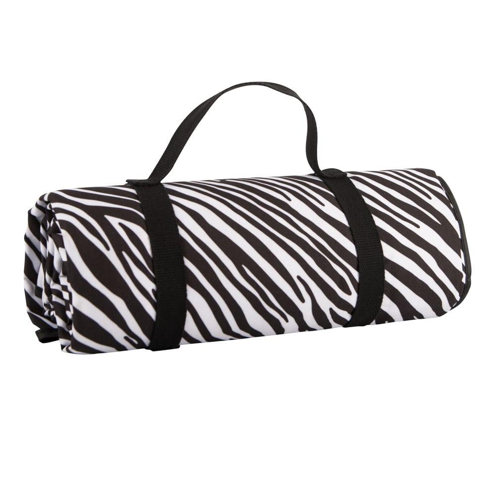 Černobílá pikniková deka Navigate Zebra Stripes, 150 x 140 cm