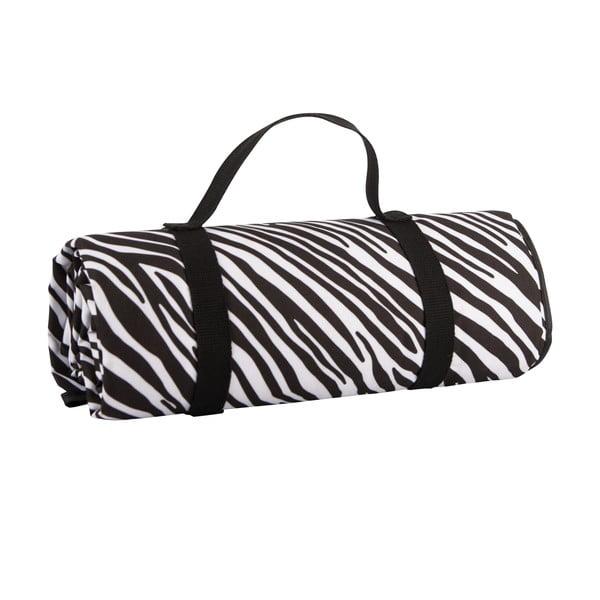 Čierno-biela pikniková deka Navigate Zebra Stripes, 150 x 140 cm