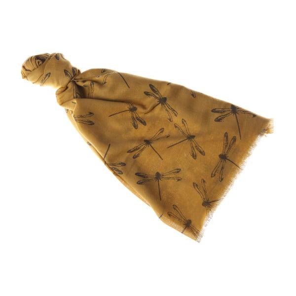 Šátek Damselfly Yellow, 180x70 cm