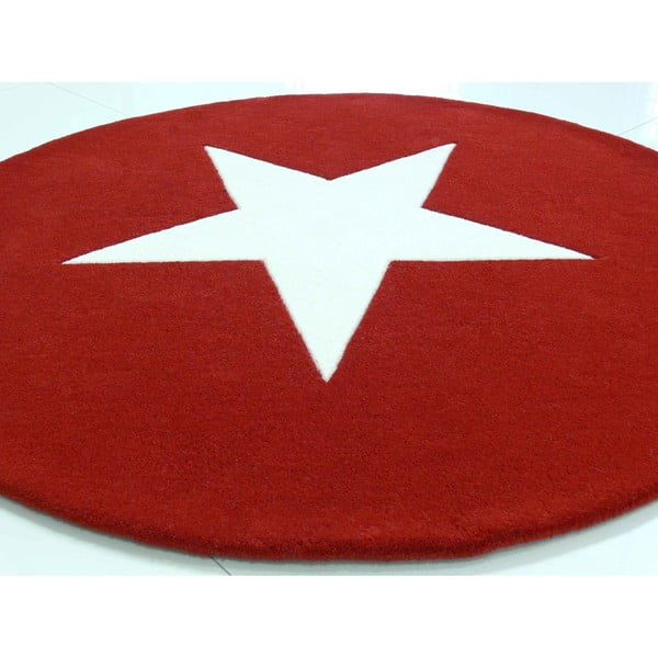 Vlněný koberec Star Red, 130 cm