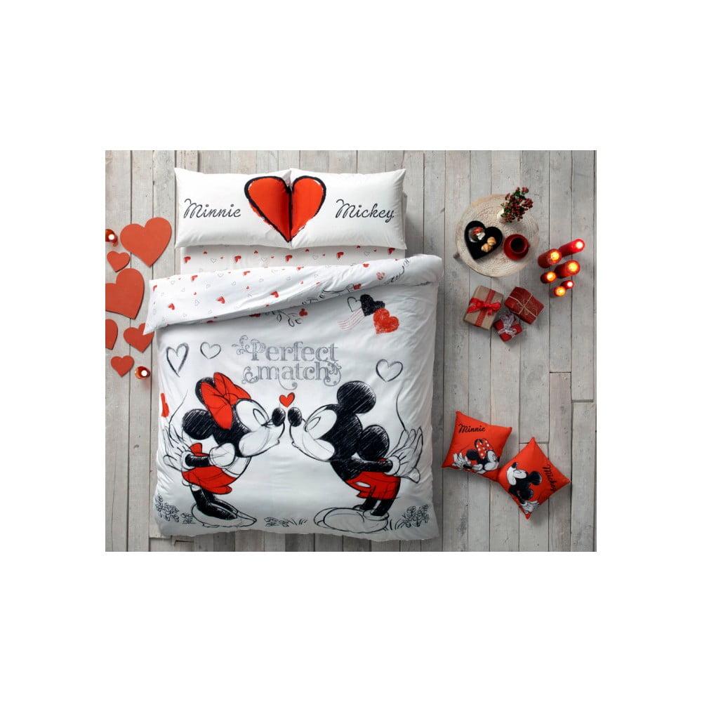 Povlečení s prostěradlem Minnie & Mickey, 160 x 220 cm