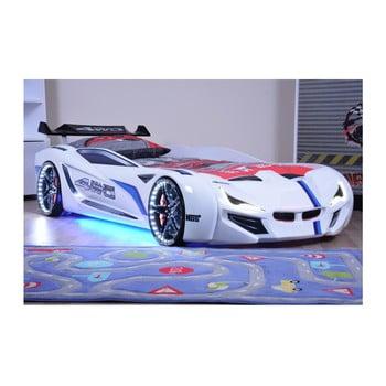 Pat în formă de automobil cu lumini LED pentru copii Fastero, 90 x 190 cm, alb de la Musvenus