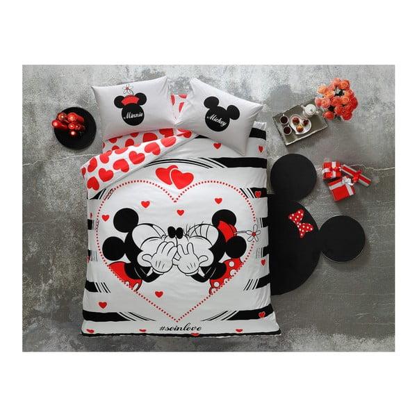 Lenjerie de pat cu cearșaf din bumbac Mickey & Minnie Amour, 200 x 220 cm