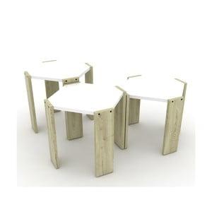 Sada 3 světlých stohovatelných odkládacích stolků s bílým detailem Rafevi Hansel