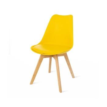 Scaun cu picioare din lemn de fag loomi.design Retro, galben de la loomi.design