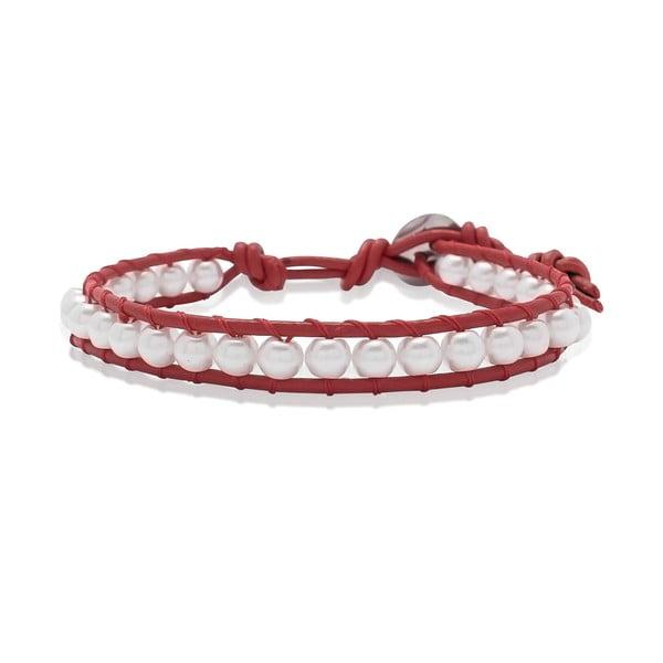 Červený náramek z pravé kůže s perlami Lucie & Jade