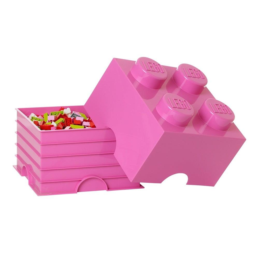 Růžový úložný box čtverec LEGO® Friends