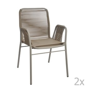 Sada 2 šedo-béžových židlí J-Line Elast